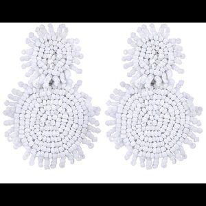 White Bohemian Beaded Earrings